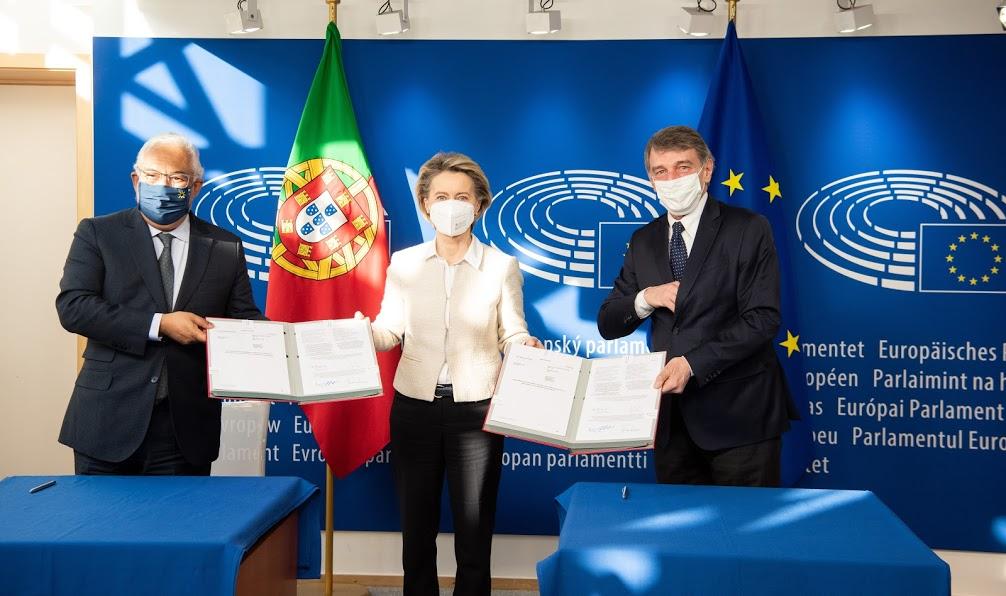 Ursula von der Leyen , António Costa , David Maria Sassoli - European Union, 2021 - Source: EC - Audiovisual Service -Photographer: Jennifer Jacquemart