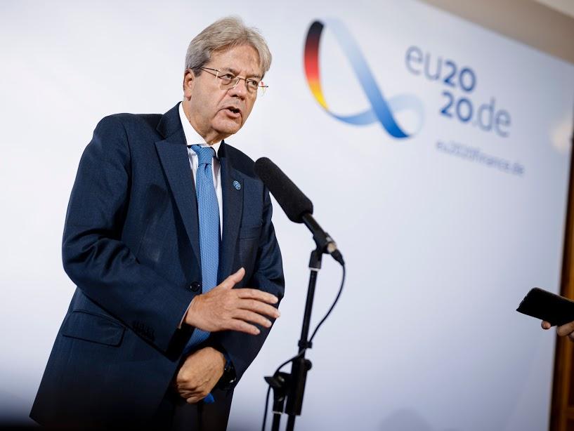 Paolo Gentiloni, EU-Kommissar fuer Wirtschaft und Waehrung gibt ein Statement vor beginn des ECOFIN Rat in Berlin. Copyright: BMF/Felix Zahn/photothek